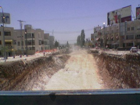 Abdoun looking from makeshift bridge