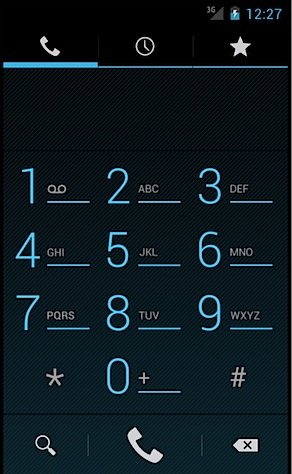 Android Ice Cream Sndwich dial pad