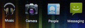 Music, Camera, People, Messaging icons on Android