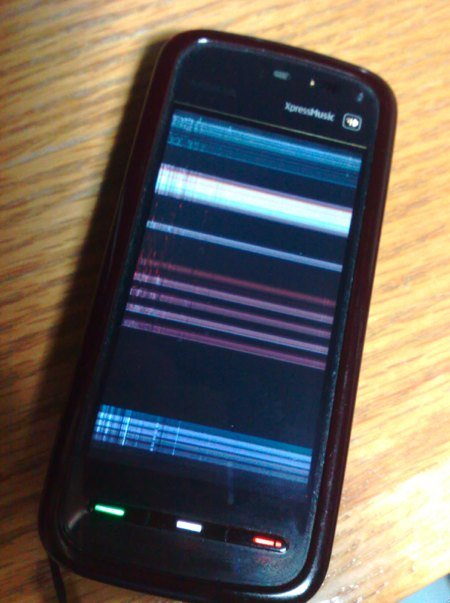 Nokia 5800 fuzzy/scambled screen, when cold!