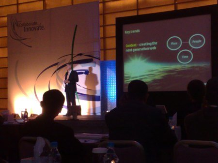 Nokia's Anssi Vanjoki on the stage at the Dead Sea event